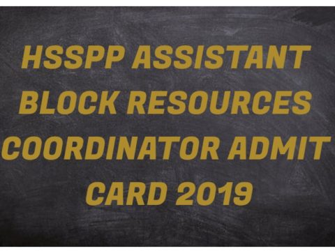 HSSPP Assistant Block Resources Coordinator Admit Card 2019